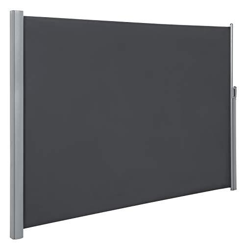 SONGMICS Seitenmarkise, 200 x 400 cm (H x L), Sichtschutz, Sonnenschutz, Seitenrollo, für Balkon, Terrasse, Garten, grau GSA204G01