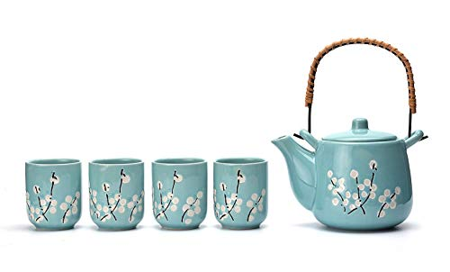 Mayjo Japanese Tea Service Set Teal with White Plum-Flower Ceramic Tetsubin Teapot & 4 Teacups Tea Set With Stainless Steel Infuser & Rattan Handle Included in Gift Box