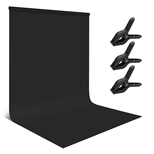 Andoer Fondo Negro para Fotografia, 1.8x2.8M Fondos Fotográficos Lavable e Ironable Pantalla Negro Backdrop para Estudio Fotografía, Vídeo y Televisión Tela Negro con 3 Pinzas