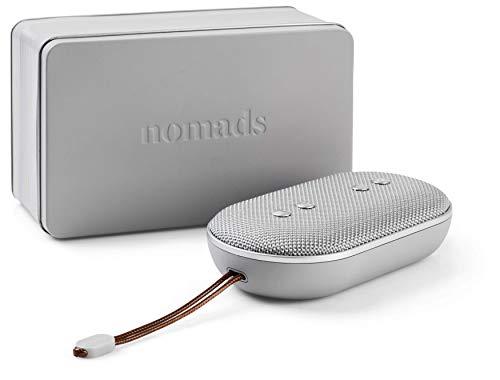 Nomads Audio BRINGone, compacte draadloze bluetooth speaker, waterbestendige draadloos speaker (Batterijduur tot 12 uur, Bluetooth 4.2, Waterbestendigheid IPX5, Bluetooth, AUX, Handsfree bellen, oplaadtijd 2,5 uur, inclusief reistas) - Grijs