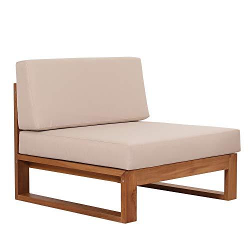 Teako Design Loungesessel Molveno Teak unbehandeltes Massivholz mit Auflagen Teakholz Wetterfest Loungesofa Gartensessel