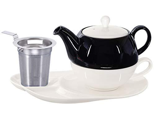 Buchensee Tea for One mit Sieb Lena 500ml aus Crystal Bone China Porzellan in schwarz-weiß. Teekanne + Teetasse + Untersetzer mit Ablageflächen + Sieb