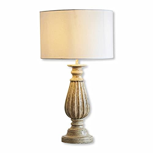Loberon Tischlampe Fabre, Mangoholz, Baumwolle, H/Ø 70/38 cm, antikbraun/weiß