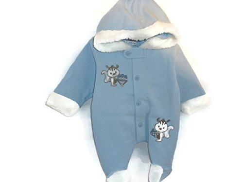 à capuche bébé tout en un avec caricatures de Les écureuils couleur bleu/bleu ciel Taille 3–6 mois