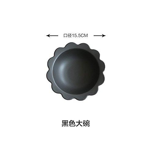 YUWANW Côté Fleurs Noir Et Blanc Mat Série Disque 8 Pouces Plateau À Couverts Ouest Saladiers Bol Dessert Pz-66, Bol Noir