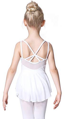 Soudittur Maillot de Danza Algodón Tutú Vestido de Ballet Gimnasia Leotardo Body Clásico Manga Corta para Niña (4-5 años, Blanco)