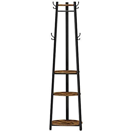 VASAGLE Coat Rack, Coat Stand with 6 Hooks, 3 Round Shelves, Steel Frame, for Scarves, Bags and Umbrellas, Storage Boxes, Industrial Style, Rustic Brown and Black ULCR081B01