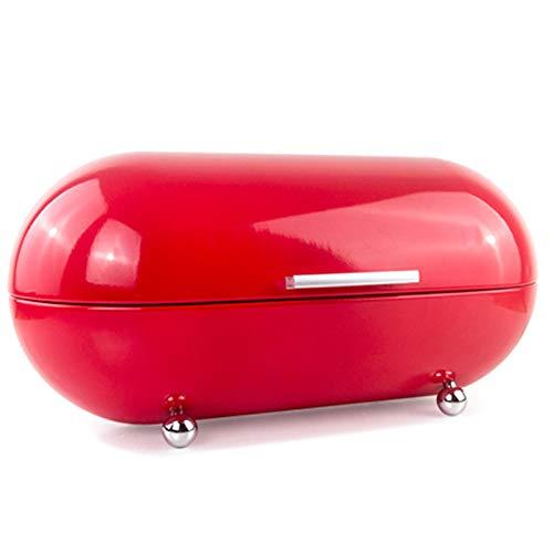 Huante Panera roja grande para encimera de cocina, moderna caja de metal en estilo vintage con tapa