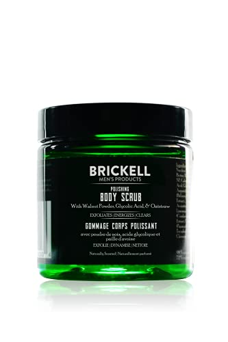 Brickell Men's Polishing Body Scrub for Men, Natural and Organic Body Exfoliator to Remove Dirt, Prevent Blemishes, and Brighten Skin (8 Ounce)