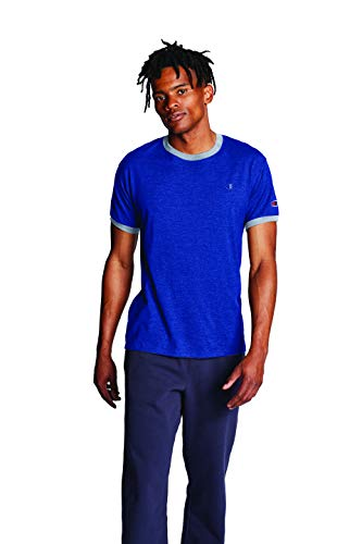 Champion Men's Classic Jersey Ringer Tee, Surf the Web/Oxford Gray Heather, M
