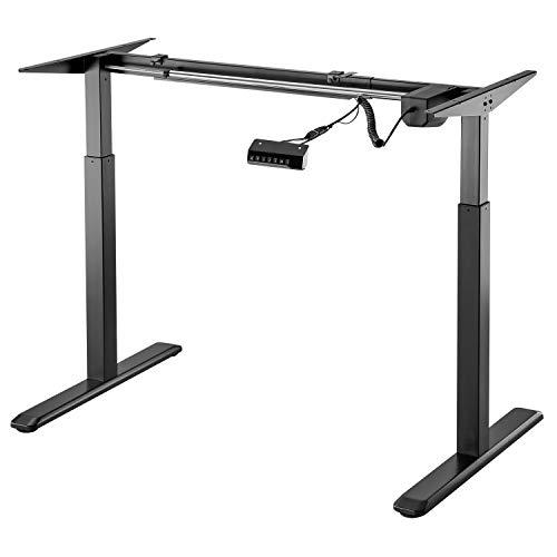 Exeta ergoEASY Elektrisch höhenverstellbarer Schreibtisch (Vers. 2020), 2-fach-Teleskop,Memory-Funkt. und Softstart/-Stopp, elektrisch höhenverstellbares Tischgestell schwarz –für gängige Tischplatten