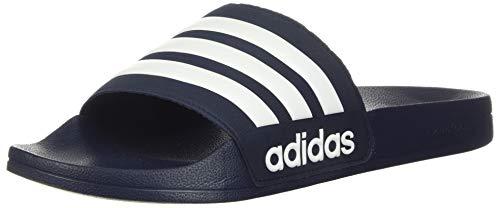 adidas Men#039s Adilette Shower Slide Sandal White/Collegiate Navy 10 M US