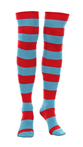 elope Dr. Seuss Thing 1&2 Striped Knee High Socks for Men and Women Redblue