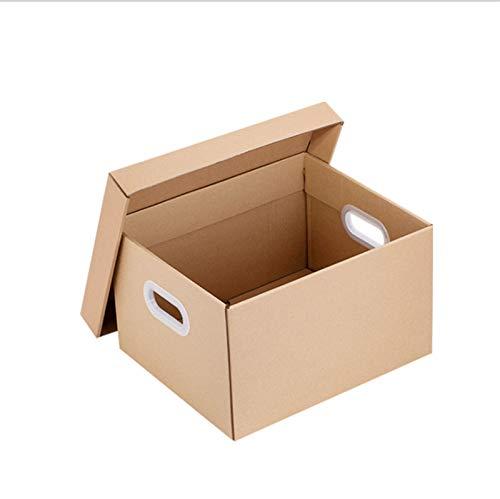 ZXPPL Caja de Almacenamiento de Archivos de Oficina, Caja de Almacenamiento con Tapa, Tablero de Papel Tapiz de Doble Capa Resistente, Caja móvil con asa, cartón móvil, marrón
