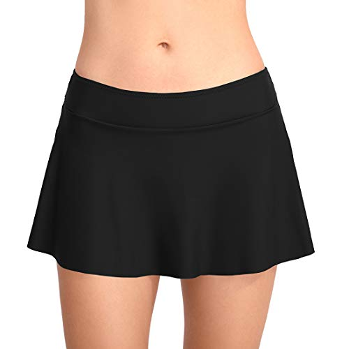 FEOYA Badeshorts Damen Bikini Rock Strand Rock mit Integrierter Hose Hohe Taille Mini Bikinihosen Bottom mit Short Schwarz S