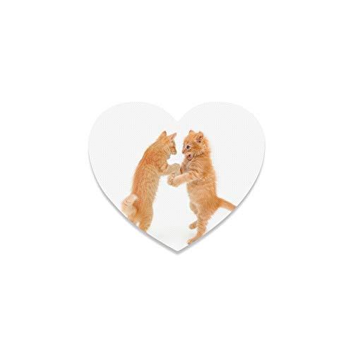 Posavasos con forma de corazón para decoración de apartamento, cocina, bar, diseño de gato bailando en el suelo blanco