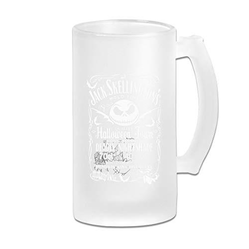 """Taza de cristal esmerilado de 16 onzas, diseño de tetina de cerveza con texto en inglés """"Pesadilla antes de Navidad, Pumkin King Distollería"""""""