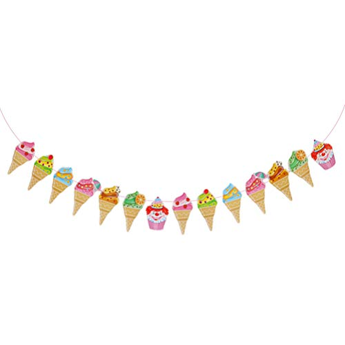 HEALLILY Decorative Paper Banners Ice Cream Shape Shape Bunting Garland Flags for Summer Theme Party Birthday Baby Show Decorations