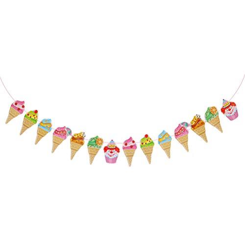 HEALLILY Banderas de Papel Decorativas Forma de Helado Banderas de Guirnaldas de Empavesado para Fiestas Temáticas de Verano Decoraciones de Cumpleaños para Bebés