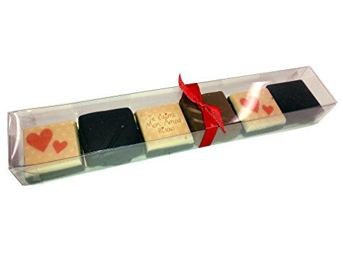 Ballotin de chocolat saint valentin - COFFRET reglette 6 chocolats personnaliés saint valentin - CHOCOLAT ARTISANAL - COFFRET CADEAU AMOUR