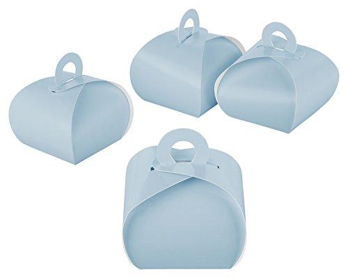itenga Box GeschenkSchachtel mit Griff blau/hellblau Babyblau aus Karton zum Befüllen (Gastgeschenk, Hochzeit Taufe Geburt) (Box mit Griff, blau)