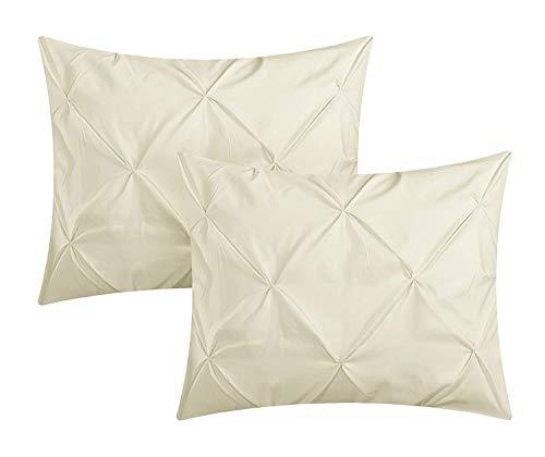 Comfort Beddings Lot de 2 taies d'oreiller plissées décoratives 100 % coton égyptien 400 fils Ivoire (Super king size) 50 x 90 cm