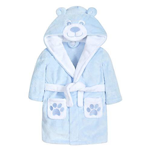 Metzuyan Baby-Bademantel mit Kapuze, Teddybär, mit Taschen und Ohren Gr. 86, blau