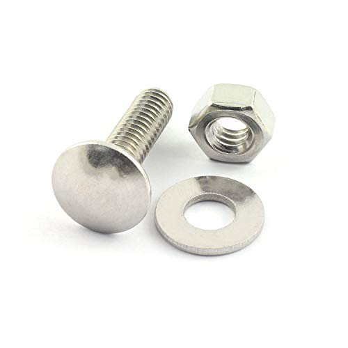 RuiLing 10 Set Carriage Bolt Sets 304 Stainless Steel Carriage Screw Hex Nut and Flat Washer Kits 1/4-20 Inches