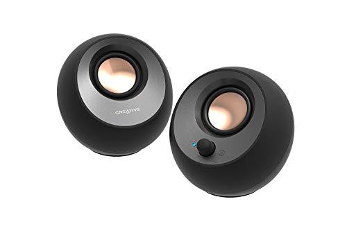 Creative Pebble V3 Minimalistischer 2.0-USB-C-Desktop-Lautsprecher mit USB-Audio, Clear Dialog, Bluetooth 5.0, 8 W Sinusleistung bei 16 W Spitzenleistung, USB-A-Konverter enthalten (Schwarz)