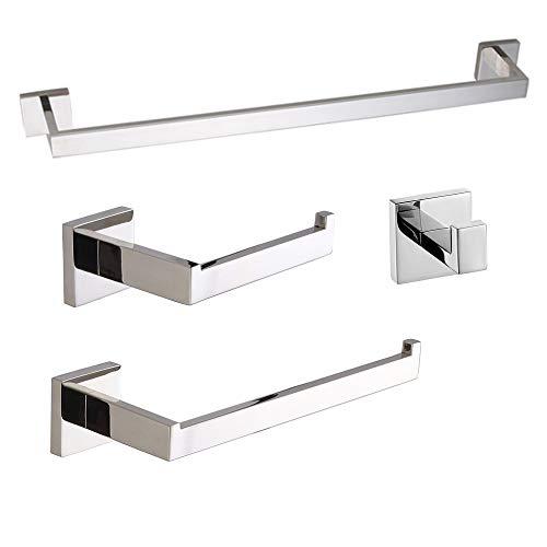 Turs cuarto de baño de 4 piezas conjunto de hardware gancho toalla barra de papel higiénico titular de la torre titular de la pared montado, acero inoxidable pulido, K7ZuheP