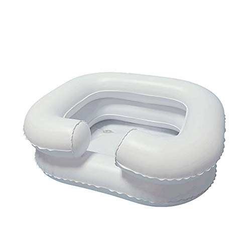 Inflatable Shampoo Basin, Portable Washing Basin, Wash Hair in Bed Assistive Aid Shampoo Bowl with Drain Tube for Injured, Elderly, Disabled
