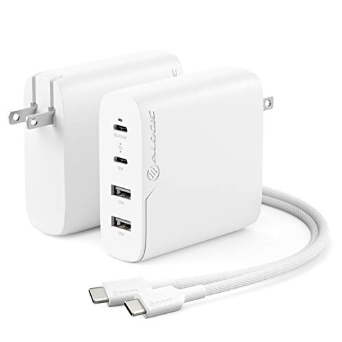 ALOGIC 100W 4-Port PD USB C Wall Charger with GaN Fast Tech, 2 USB-C, 2 USB-A, Dynamic Power Allocation, Power Delivery 3.0 Charger for MacBook, M1 Mac, XPS, iPad Pro, iPhone, Galaxy & More