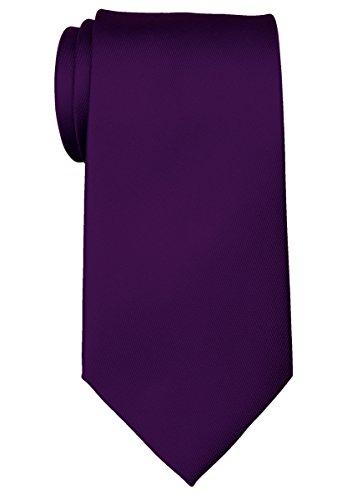 Retreez Corbata de microfibra de color liso liso para hombre, color morado oscuro