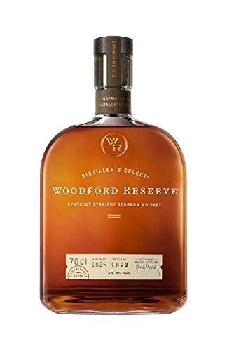 Woodford Reserve Kentucky Straight Bourbon Whiskey – Whiskey dal gusto morbido e ricco con note di cacao, vaniglia e tabacco. Bottiglia da 70 cl, Vol. 43%
