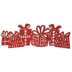 Frise autocollante velours rouge - Cadeaux