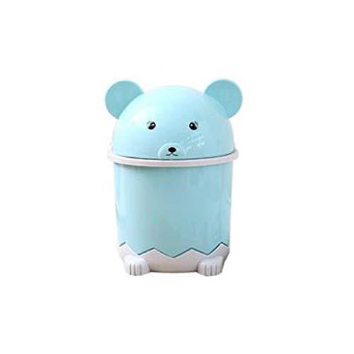 Lpiotyuljt Cubo Basura Reciclaje, Bote de Basura con Apariencia Especial de Dibujos Animados en la Papelera de plástico de Escritorio de Oficina con Tapa de Flip-Top (Color : Blue)