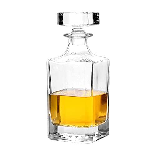 Decanter in vetro con tappo geometrico ermetico – Decanter per whisky per vino, borbone, brandy, liquore, succo, acqua, collutorio, vetro italiano senza piombo (768 ml)