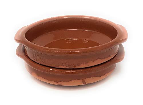 Alfareria Padilla 2er-Set Cazuela Tonschale rustikale Servierschale klein, traditionel, flach, rund, braun 16 cm | 2x16cm