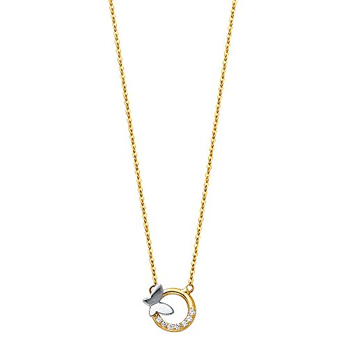 14K Yellow Gold High Polish CZ Round Circle with Butterfly Design Charm Pendant Necklace with Spring-ring Clasp - 17