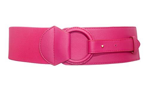 eVogues Plus Size Leatherette O-ring Buckle Elastic Wide Fashion Belt Hot Pink