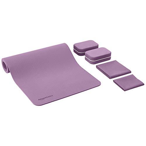 Amazon Basics - Esterilla de yoga en TPE de 0,6 cm de grosor, lote de 6 artículos, morado