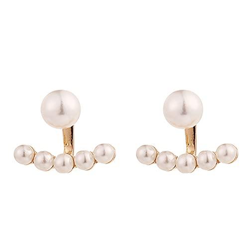 WZDTNL Pendientes de perlas de plata 925, pendientes de perlas blancas, pendientes de perlas en forma de T, regalo elegante para mujeres y novias