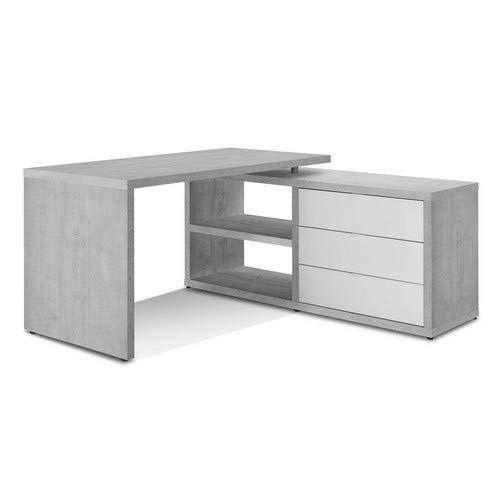 Composad Scrivania con allungo e Tre cassetti Color Cemento e Laccato Bianco Lucido, Legno_Composito, Unica