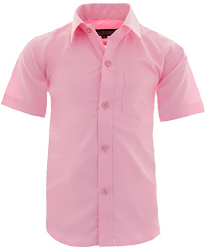 GILLSONZ A0 vDa New Kinder Party Hemd Freizeit Hemd bügelleicht Kurz ARM Gr.86-158 (128-134, Rosa)