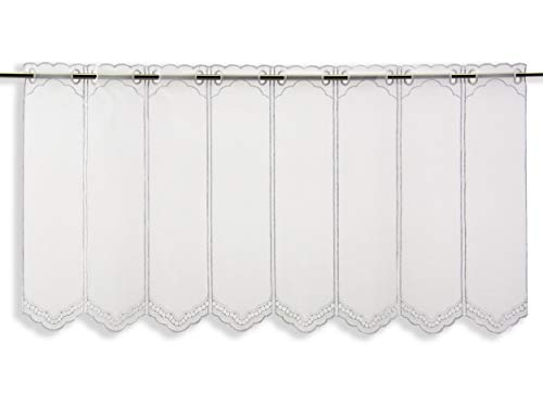 Scheibengardine Borte Lochstickerei weiß Höhe 30/45/60/90 oder 120cm   Breite der Gardine frei wählbar in 10,5cm Schritten   Gardine   Panneaux   (Höhe 45cm)