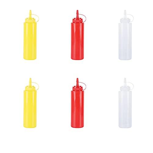 haihaz,6 Pcs 250ml Dispensador de Botellas de Plástico Ninguna Fuga,Dispensadores Rellenables para Ketchup,Set de Botes Transparentes Sin BPA a Granel, Biberon Salsas con Tapas de Rosca