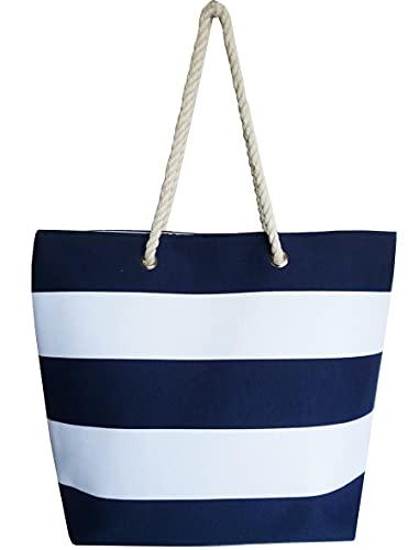 Thomas Calvi Bolsa de playa para mujer, grande, bolsa de viaje de lona de verano con cremallera, bolsa de compras para damas, color Azul, talla Large
