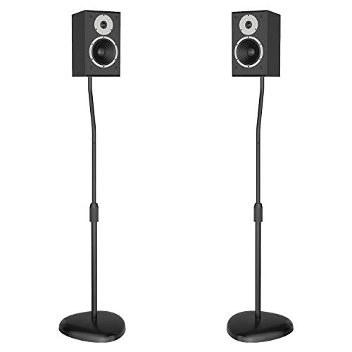 WALI Speaker Stand Adjustable Height Mount Hold Satellite Book Shelf Speaker up to 9.9 lbs Extend from 30 to 40.8 inch (SS201B) 1 Pair, Black