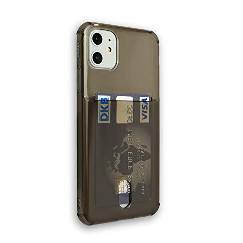 Wormcase® Kunststoffhülle mit Kartenfach kompatibel mit iPhone 11 - Farbe Schwarz - TPU Schale Back-Cover Schutz-Tasche Kratzfest Stoßfest Bumper Crystal-Clear dünn leicht schmal
