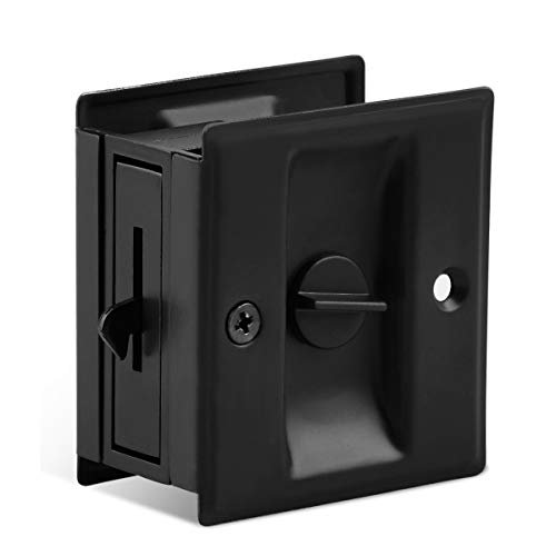 "HOMOTEK Privacy Sliding Door Lock with Pull - Replace Old Or Damaged Pocket Door Locks Quickly and Easily, 2-3/4""x2-1/2"", for 1-3/8"" Thickness Door, Black"